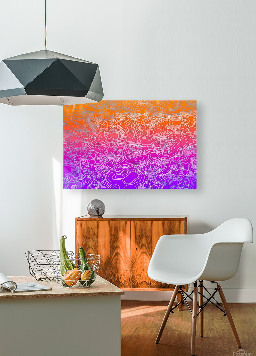 geometric fractal line abstract background in purple orange  HD Metal print with Floating Frame on Back