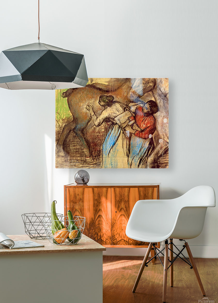 Two women washing horses by Degas  HD Metal print with Floating Frame on Back