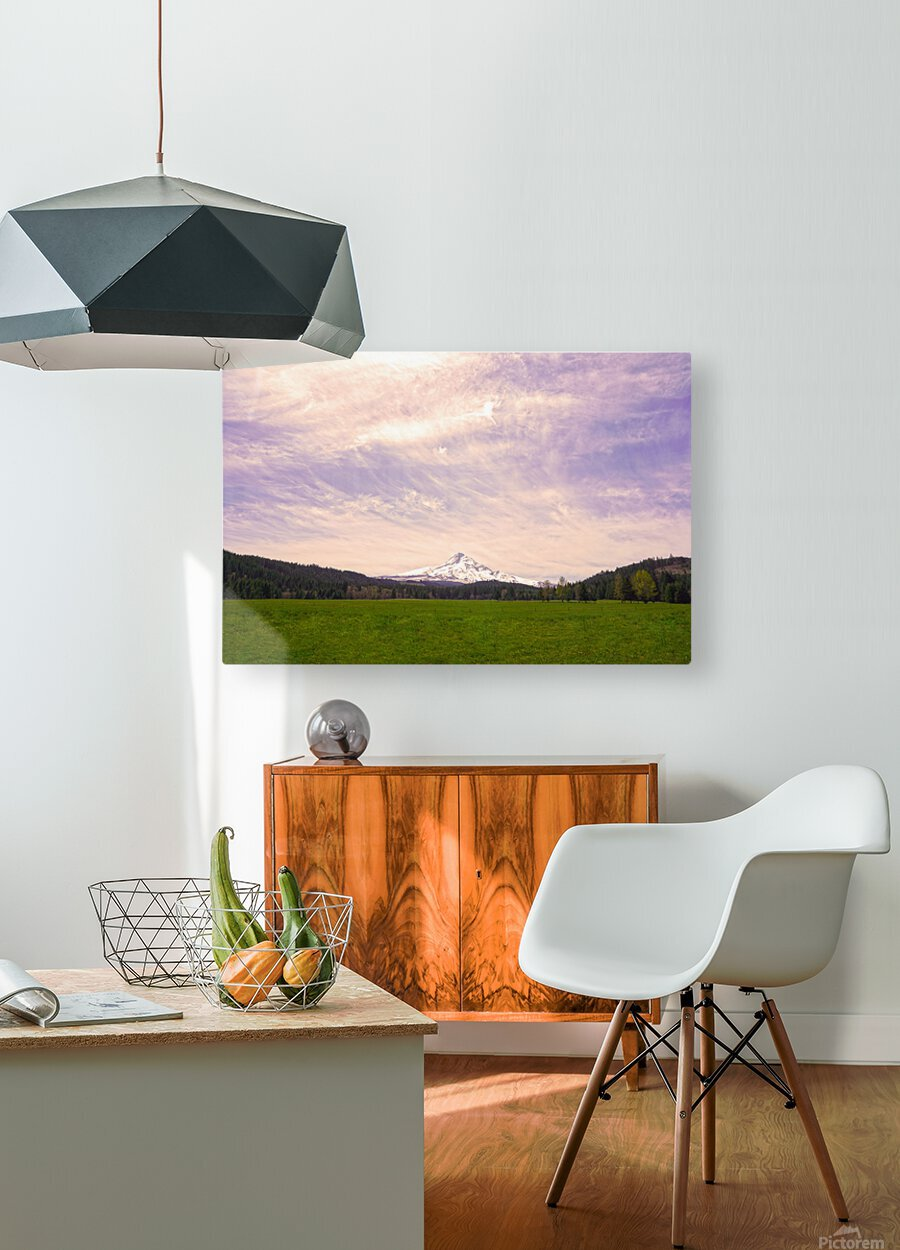 Mount Hood Bathed in Golden Rays at Sunset  HD Metal print with Floating Frame on Back