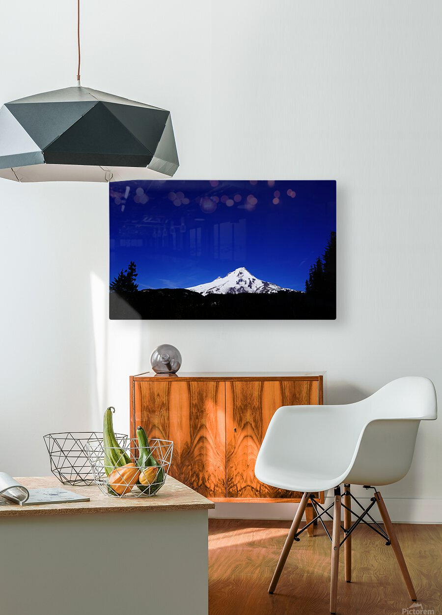 Mount Hood in the Waning Light of Day - Oregon Columbia River Gorge  HD Metal print with Floating Frame on Back