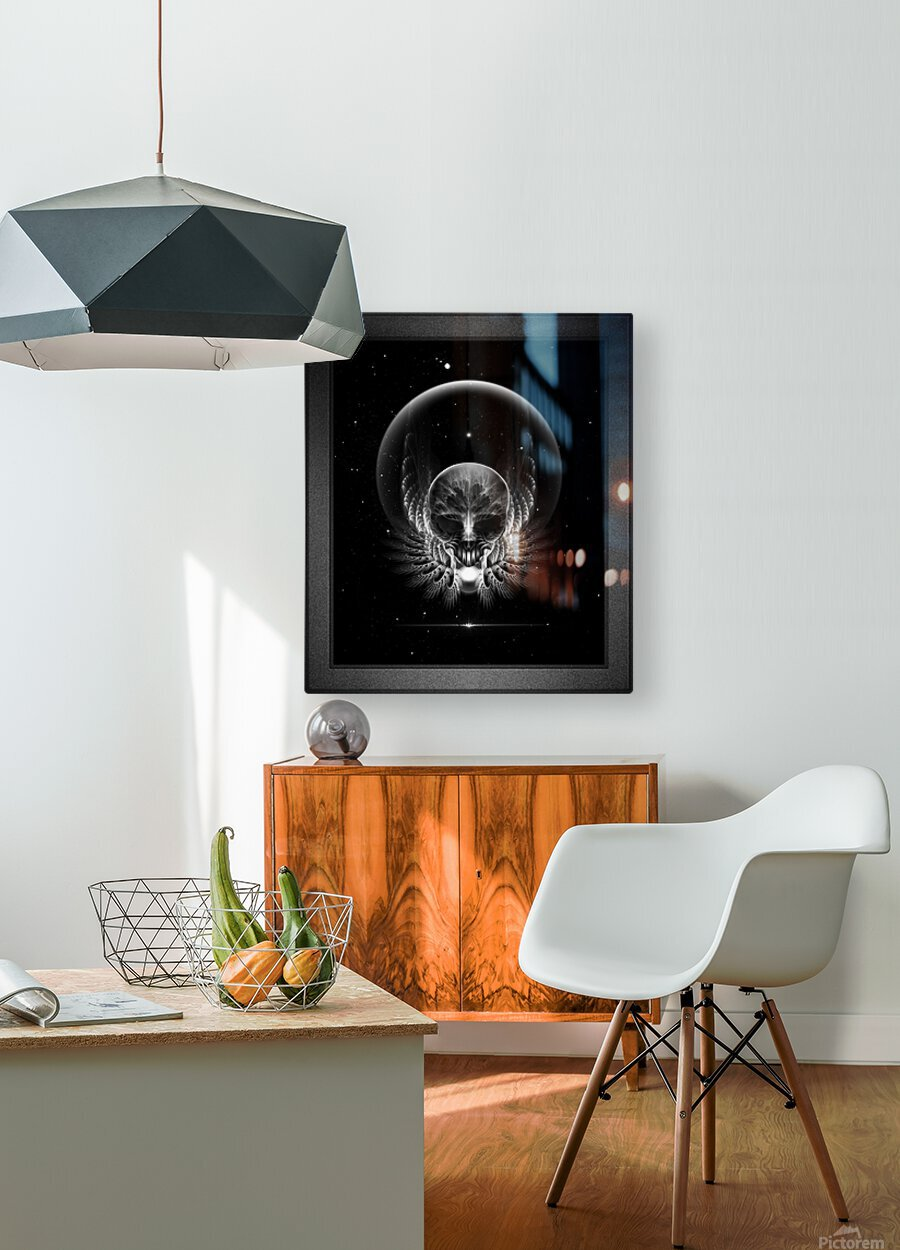 Gothic Wing Feitan Skull Fractal Art Composition  HD Metal print with Floating Frame on Back