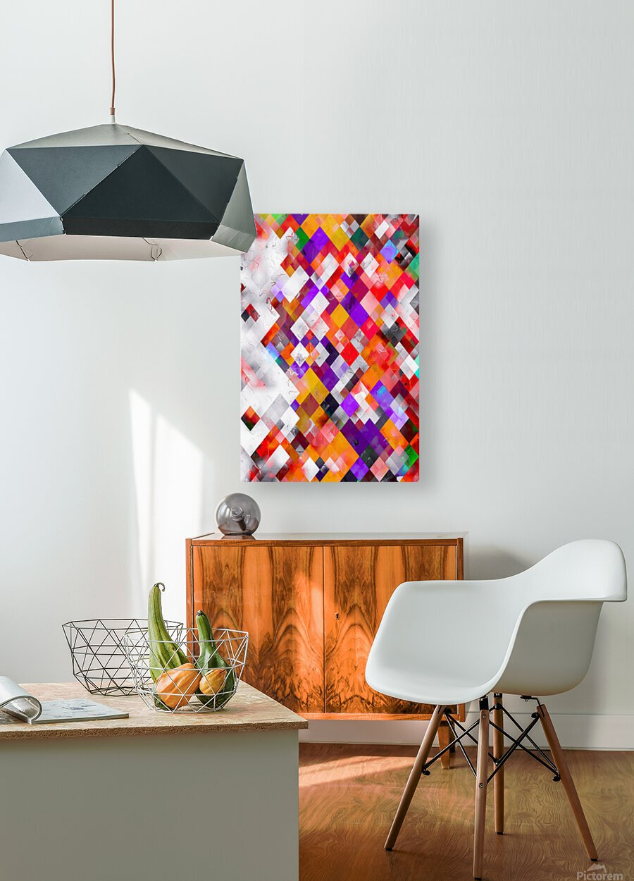 colorful geometric square pixel pattern abstract art in orange red purple  HD Metal print with Floating Frame on Back