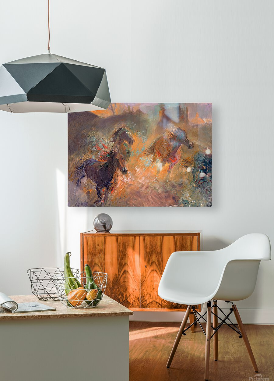 Wild Horses Sun Dust  HD Metal print with Floating Frame on Back
