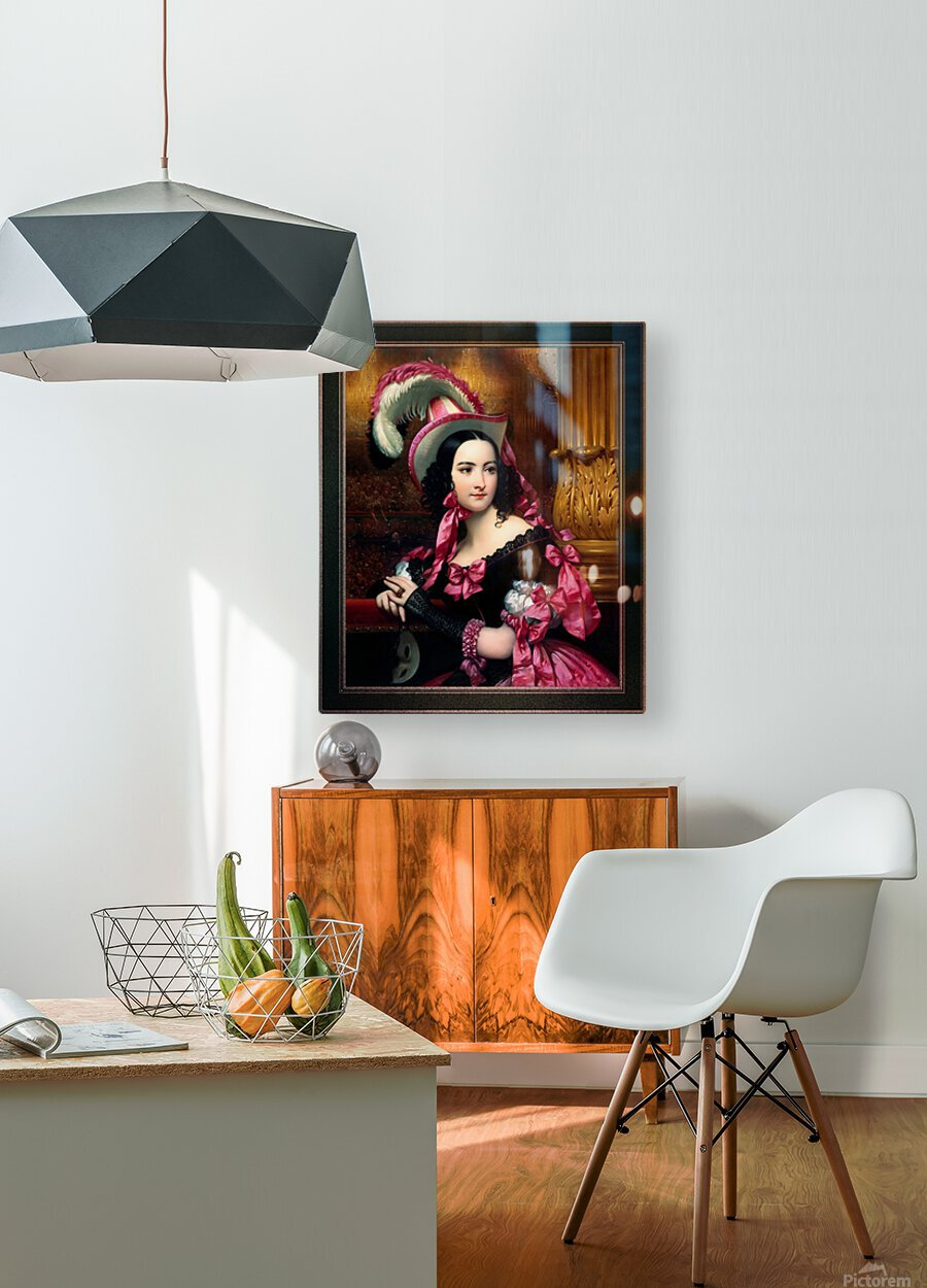 The Venetian At The Mask Ball by Joseph-Desire Court Classical Fine Art Xzendor7 Old Masters Reproductions  HD Metal print with Floating Frame on Back
