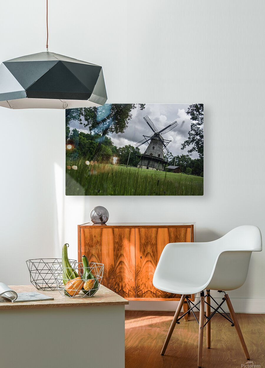 Windmill in a Storm  HD Metal print with Floating Frame on Back