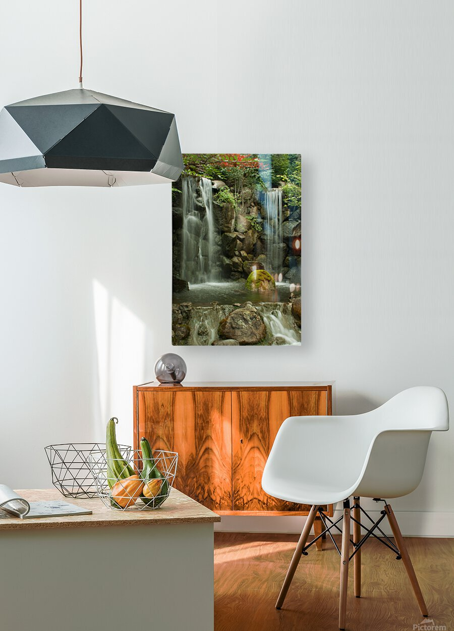 Japanese Waterfalls  HD Metal print with Floating Frame on Back