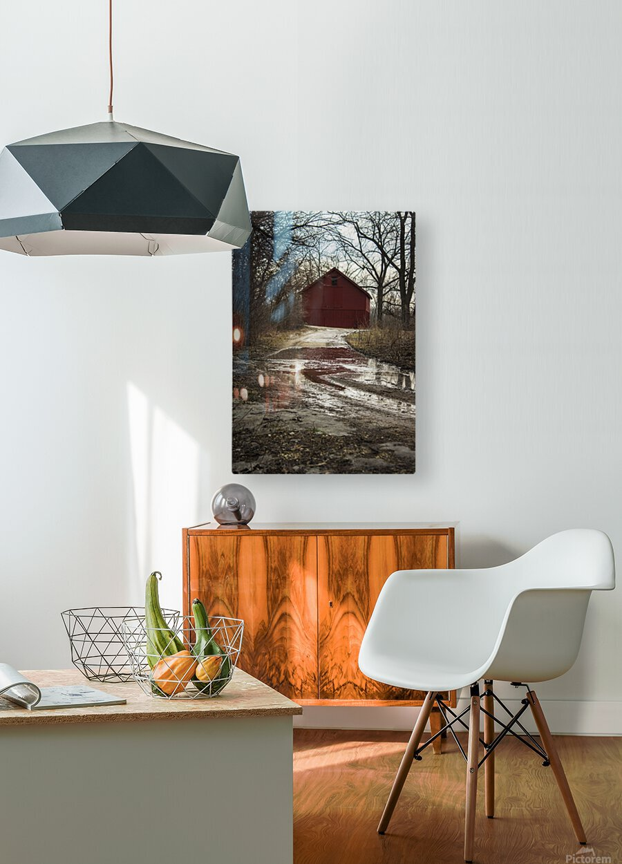 Travel to the Red Barn  HD Metal print with Floating Frame on Back