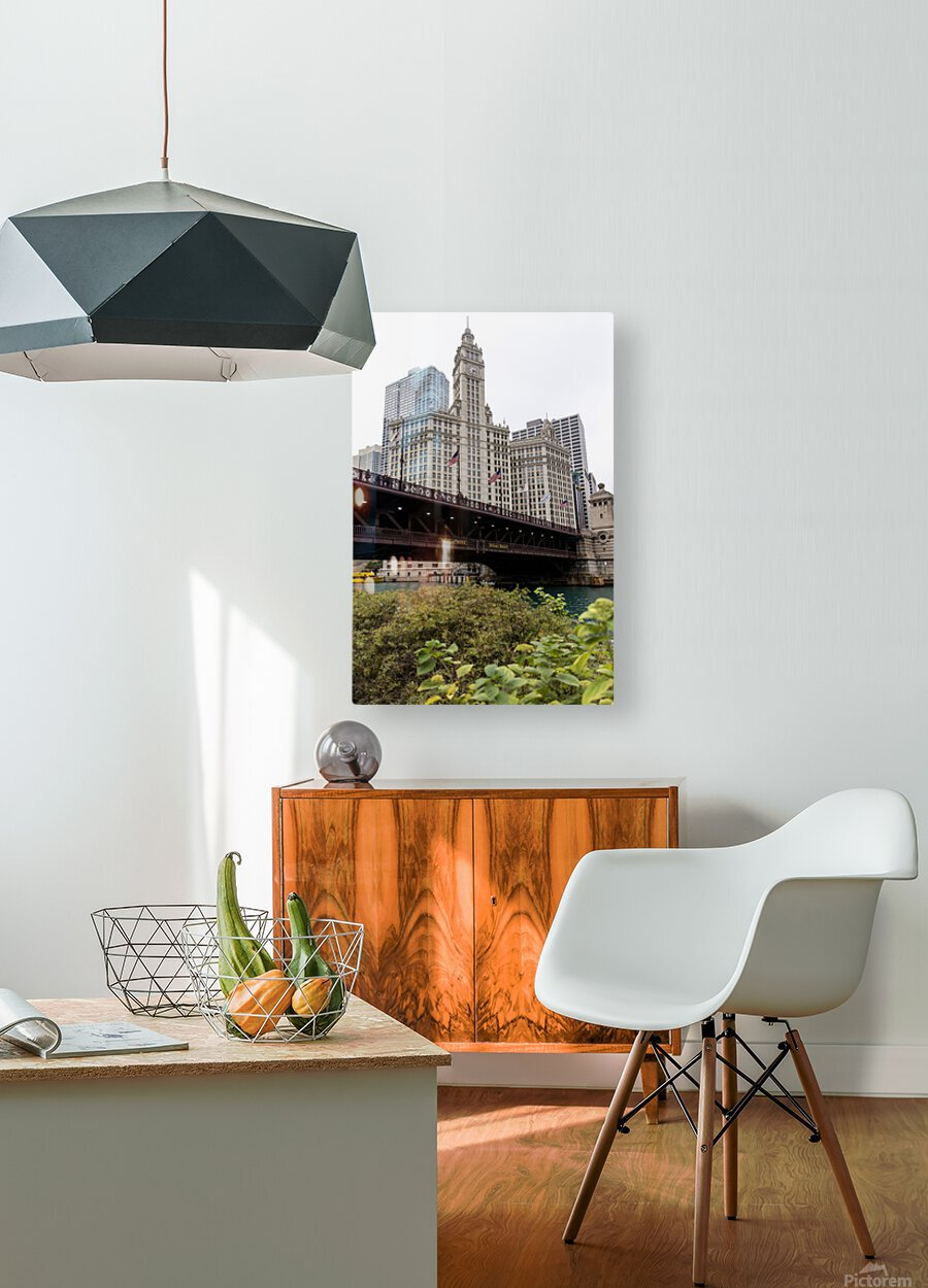 Wrigley Building Chicago  HD Metal print with Floating Frame on Back