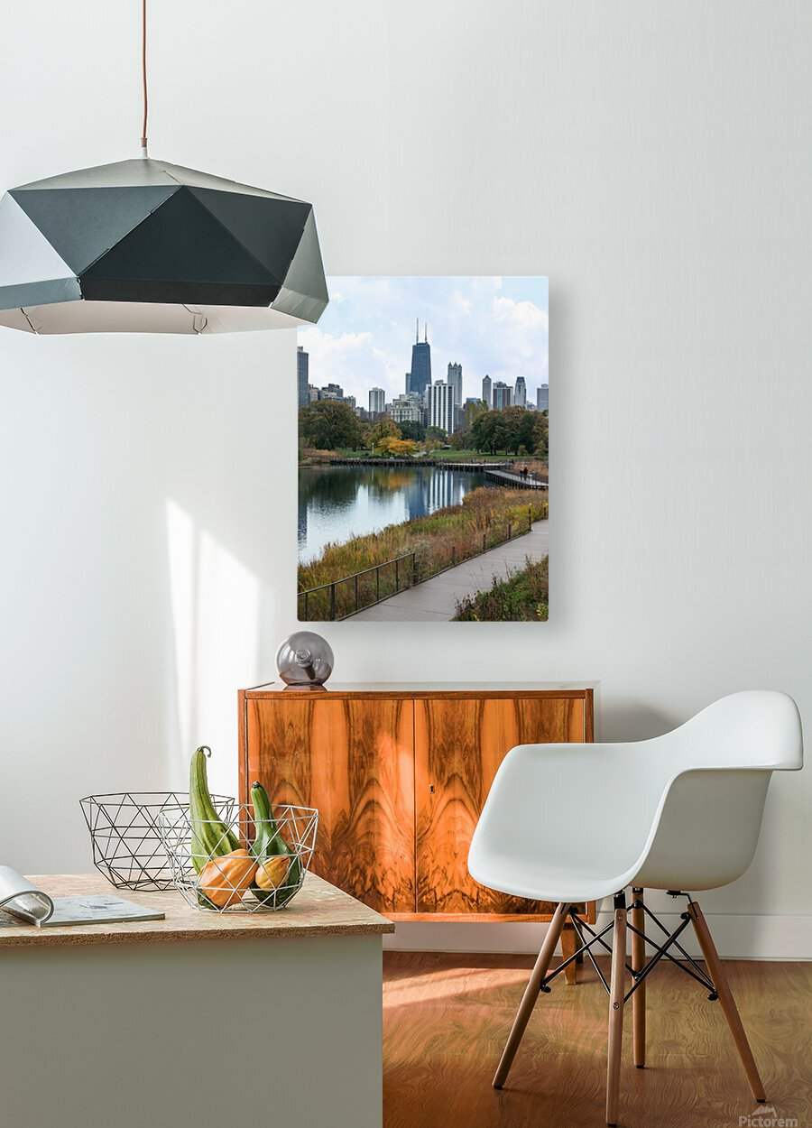 Hancock Over Lincoln Park  HD Metal print with Floating Frame on Back