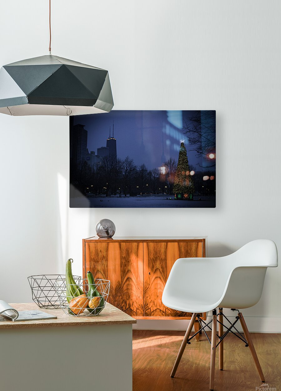 Chicago Christmas  HD Metal print with Floating Frame on Back