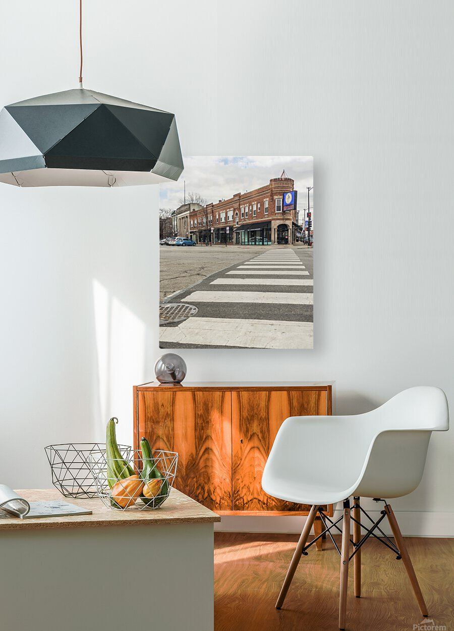 Strolling Down the Street  HD Metal print with Floating Frame on Back