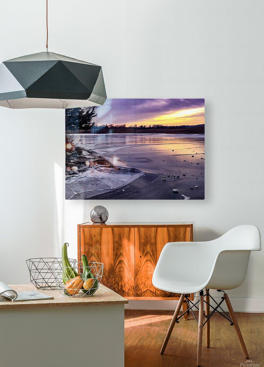 A Violet Sunset  HD Metal print with Floating Frame on Back