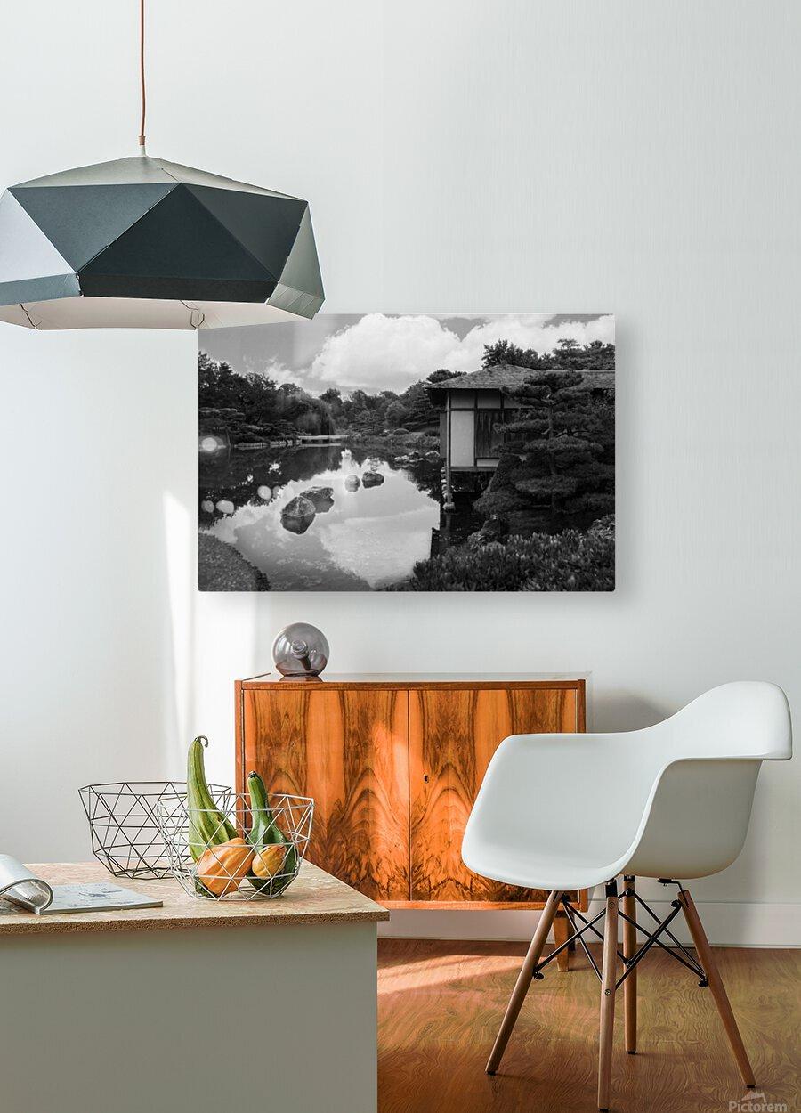 Black White Pond  HD Metal print with Floating Frame on Back