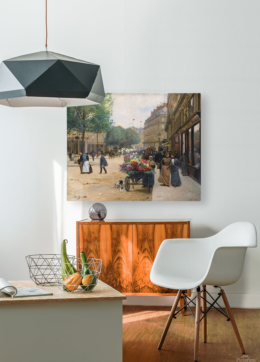 Flower seller in the central market  HD Metal print with Floating Frame on Back