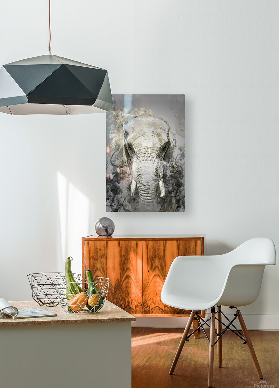 Elephant  HD Metal print with Floating Frame on Back