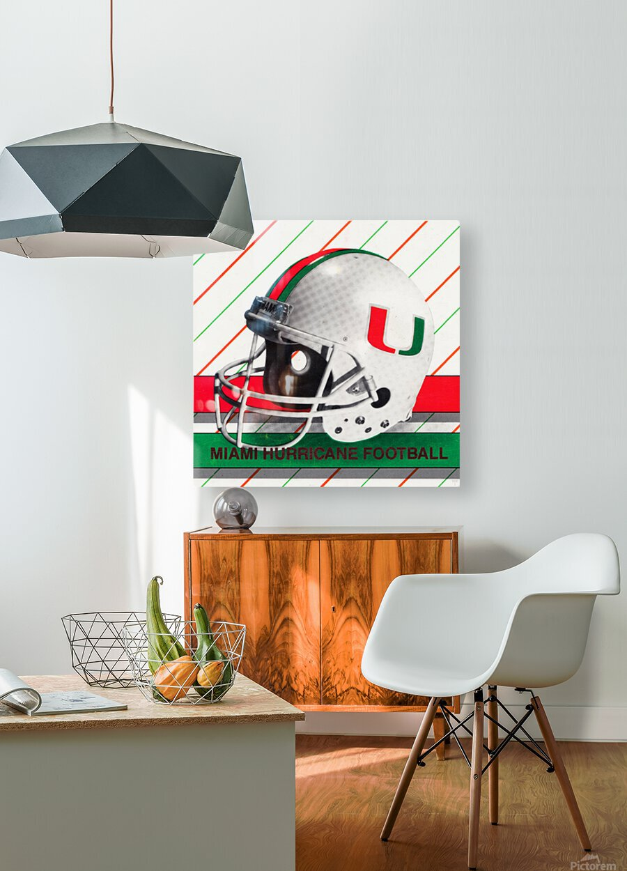 Retro Miami Hurricane Football Helmet Art  HD Metal print with Floating Frame on Back