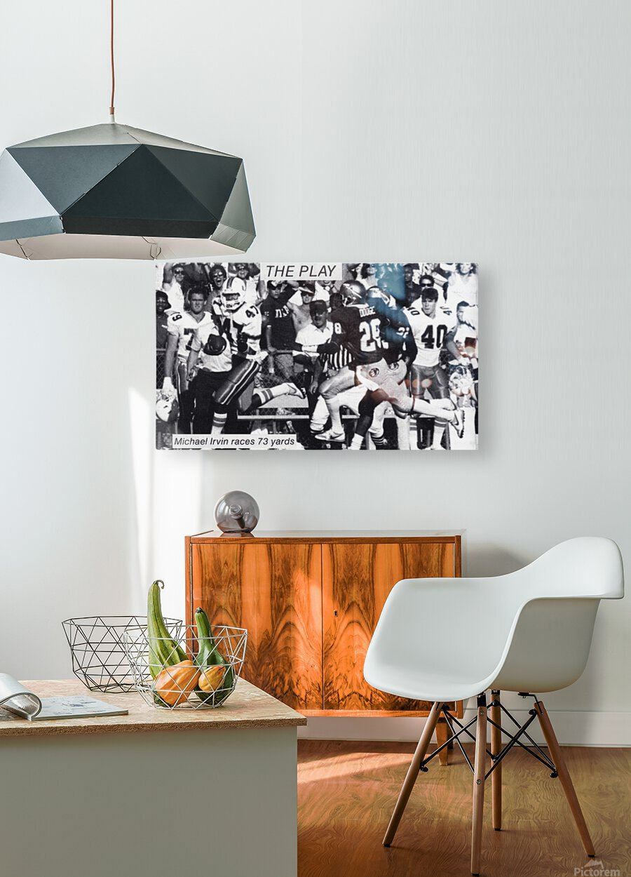 1987 Michael Irvin Miami Football Art  HD Metal print with Floating Frame on Back