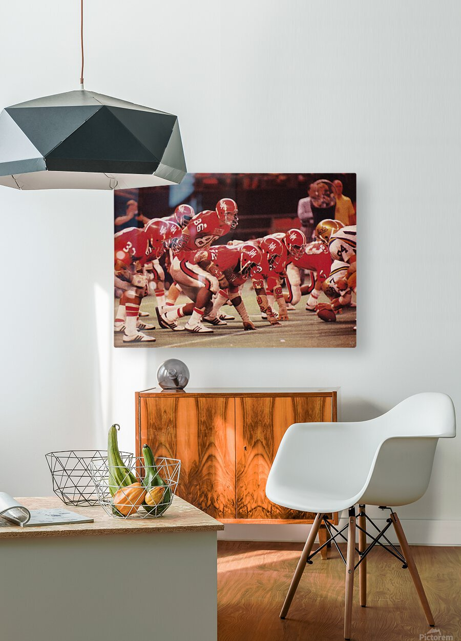 1977 UCLA vs. Houston Football Action  HD Metal print with Floating Frame on Back
