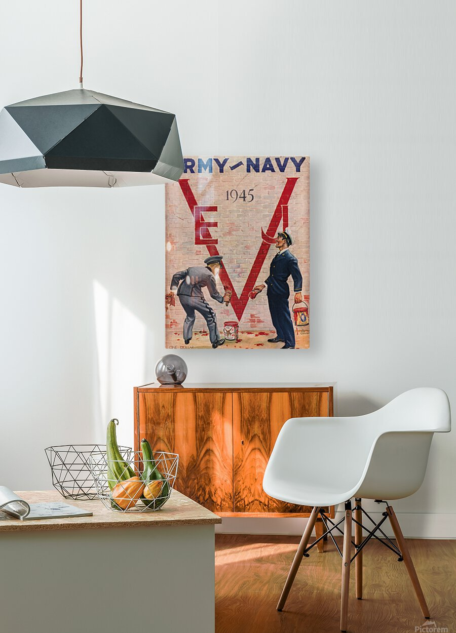1945 Army Navy Football Program Canvas Art  HD Metal print with Floating Frame on Back