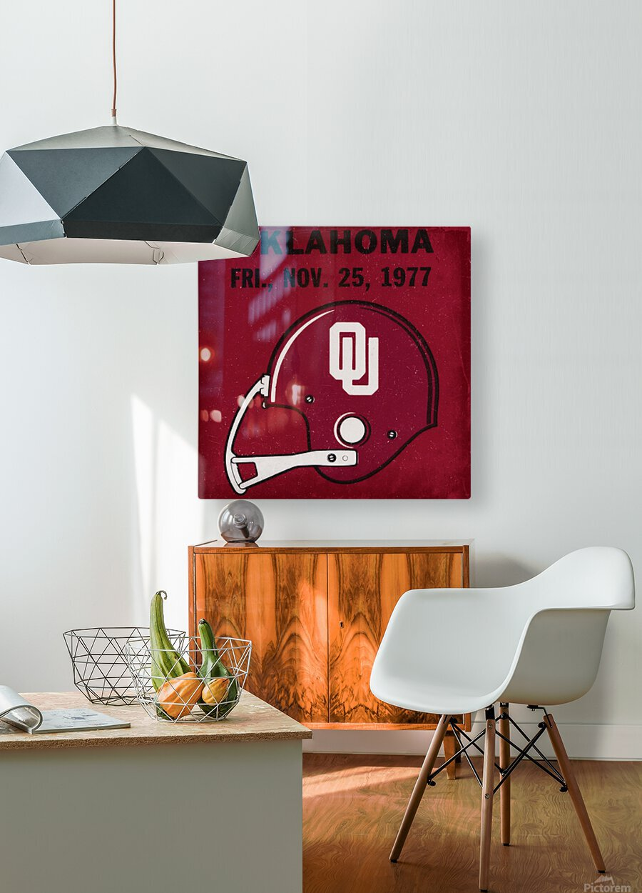 1977 Oklahoma Football Ticket Remix Row 1  HD Metal print with Floating Frame on Back