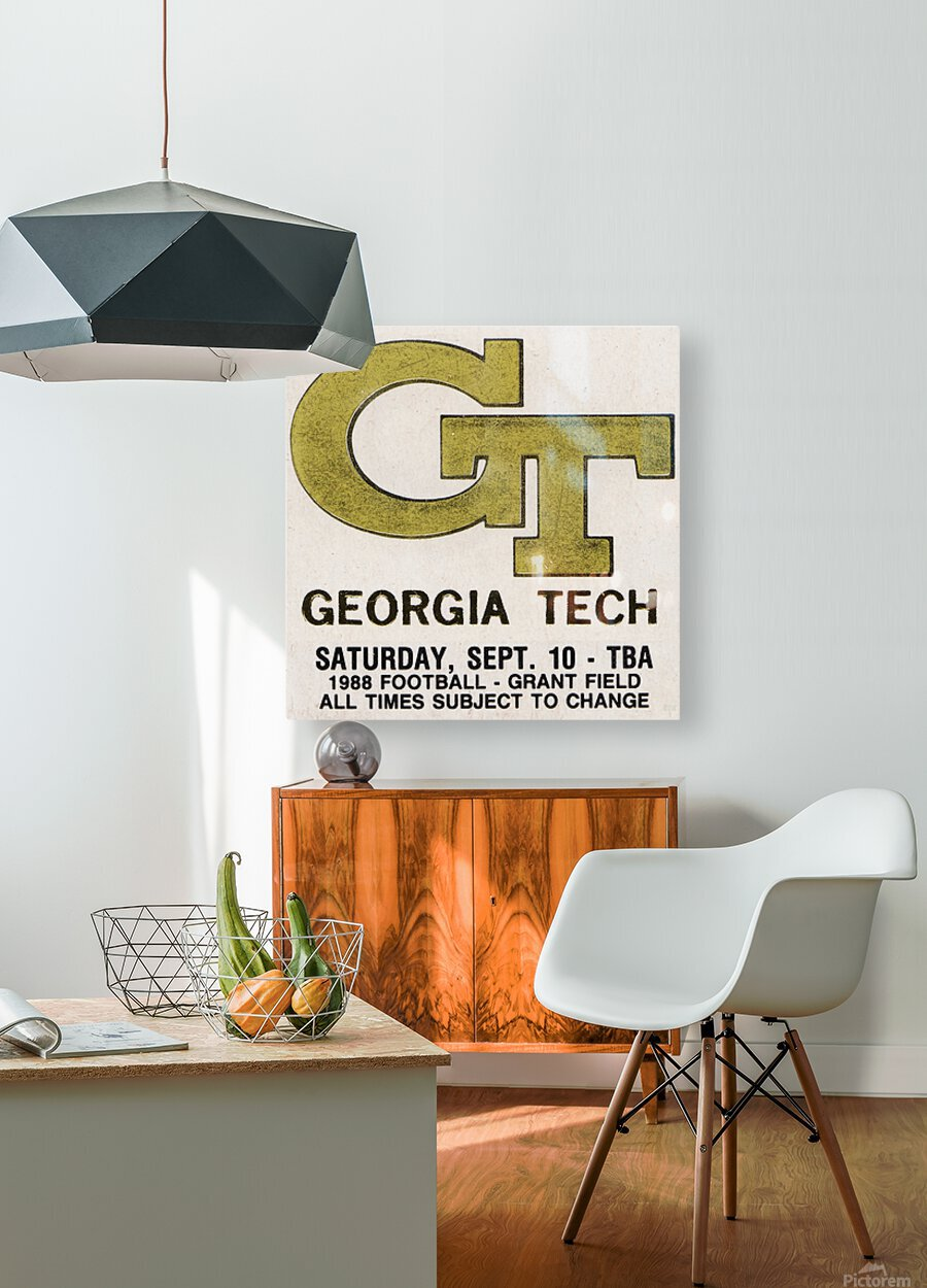 1988 Georgia Tech Football Ticket Stub Remix  HD Metal print with Floating Frame on Back