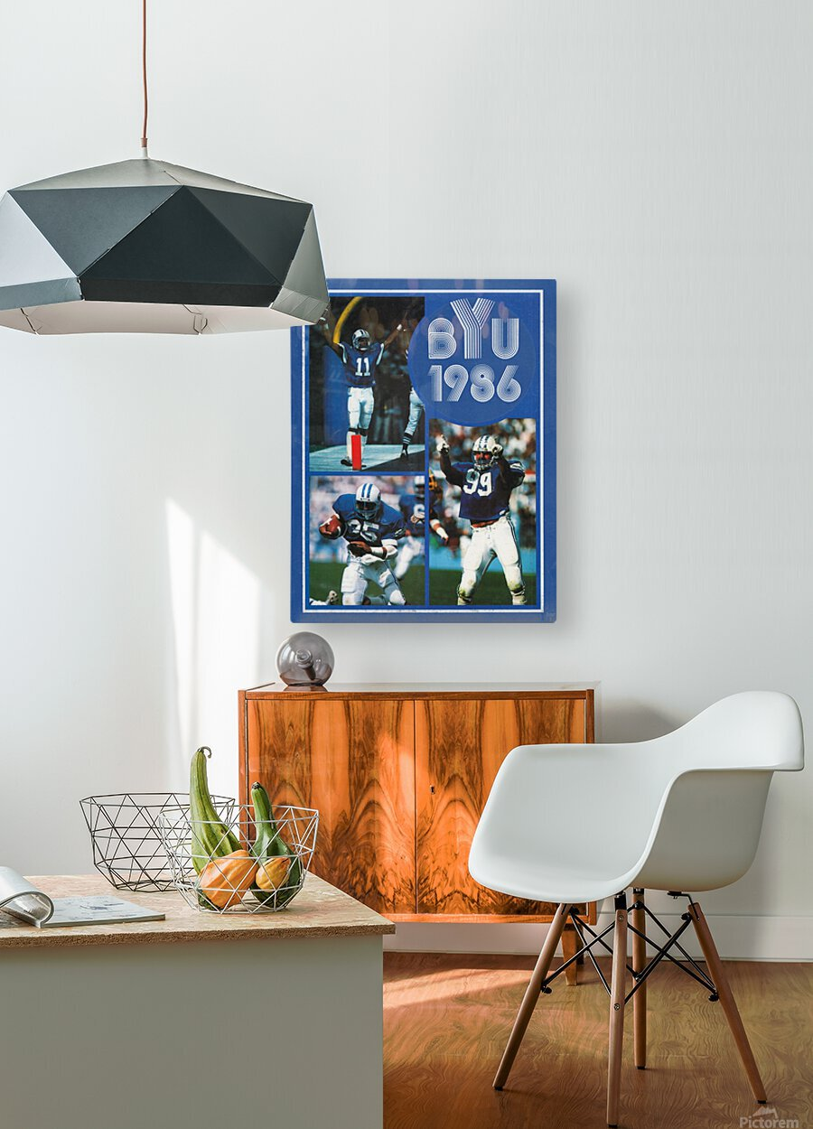1986 BYU Cougars Football Art  HD Metal print with Floating Frame on Back
