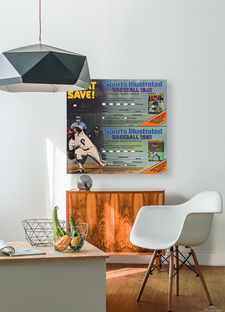 1981 Sports Illustrated Baseball Ad Poster  HD Metal print with Floating Frame on Back