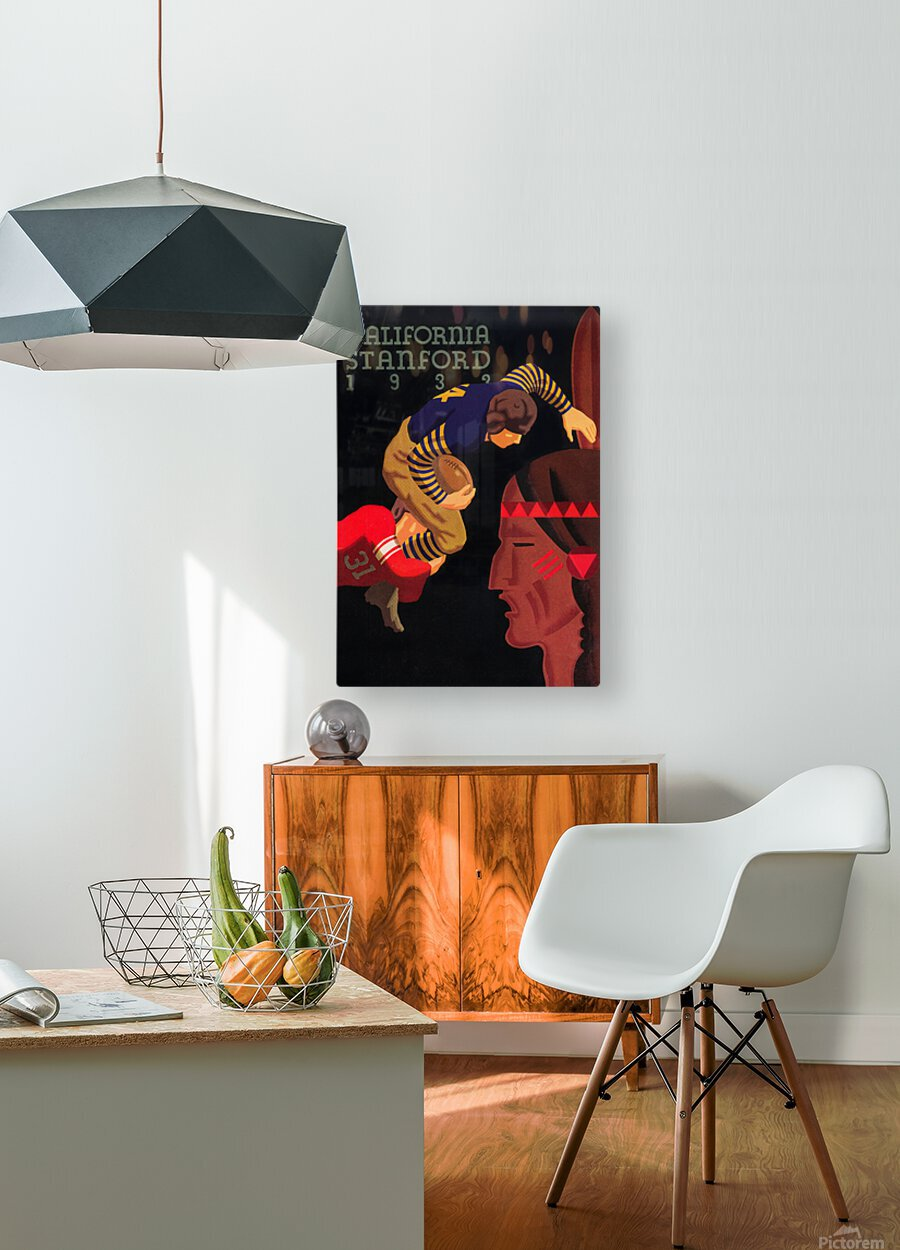 1933 Stanford vs. California Football Program Brushed Metal Art  HD Metal print with Floating Frame on Back