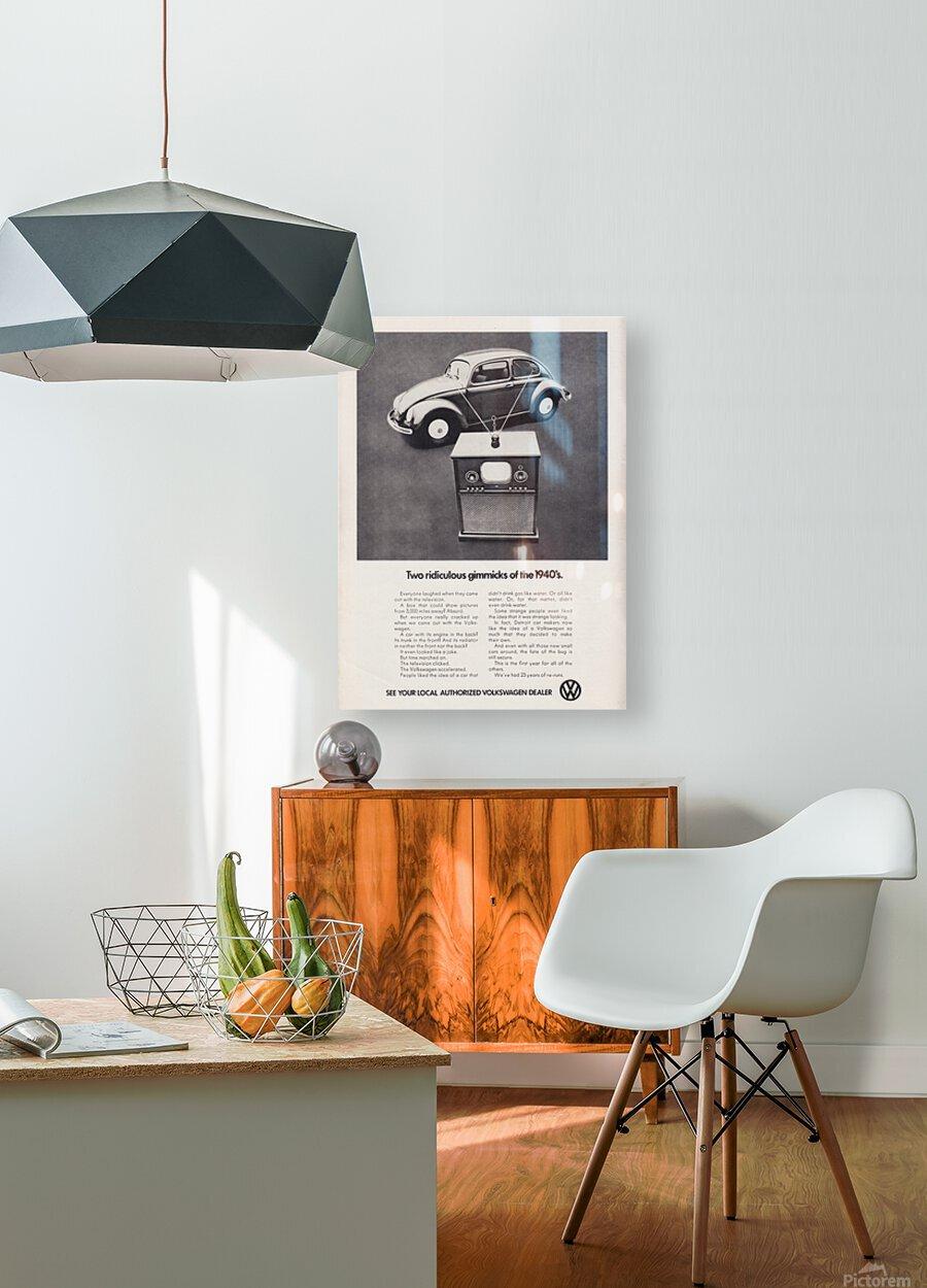 1971 Vintage Volkswagen Car Ad Poster  HD Metal print with Floating Frame on Back