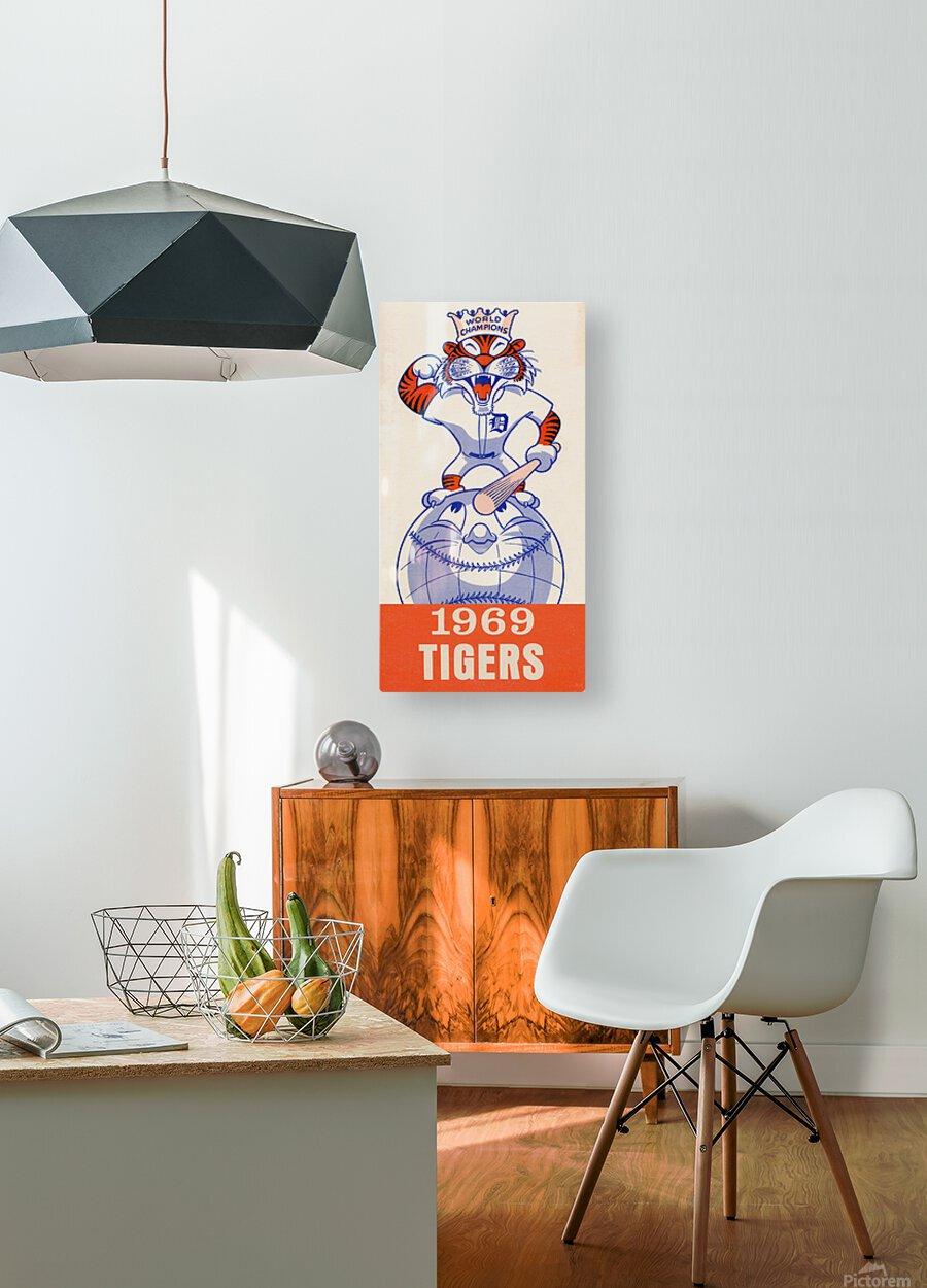 1969 Detroit Tigers Retro Baseball Art  HD Metal print with Floating Frame on Back