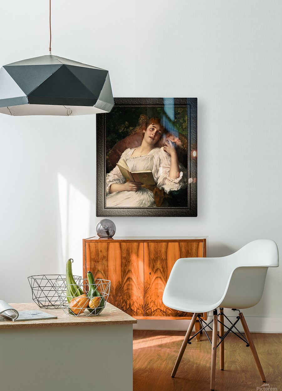 Day Dreaming by Conrad Kiesel Xzendor7 Old Masters Reproductions  HD Metal print with Floating Frame on Back
