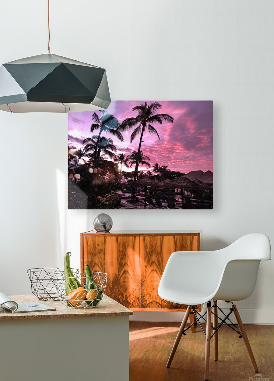 After the Beach Party - Tropical Sunset Hawaii  HD Metal print with Floating Frame on Back