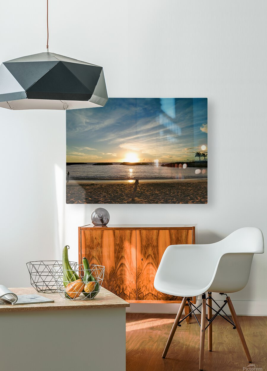 By the Fading Light of the Sun - Tropical Sunset Hawaii  HD Metal print with Floating Frame on Back