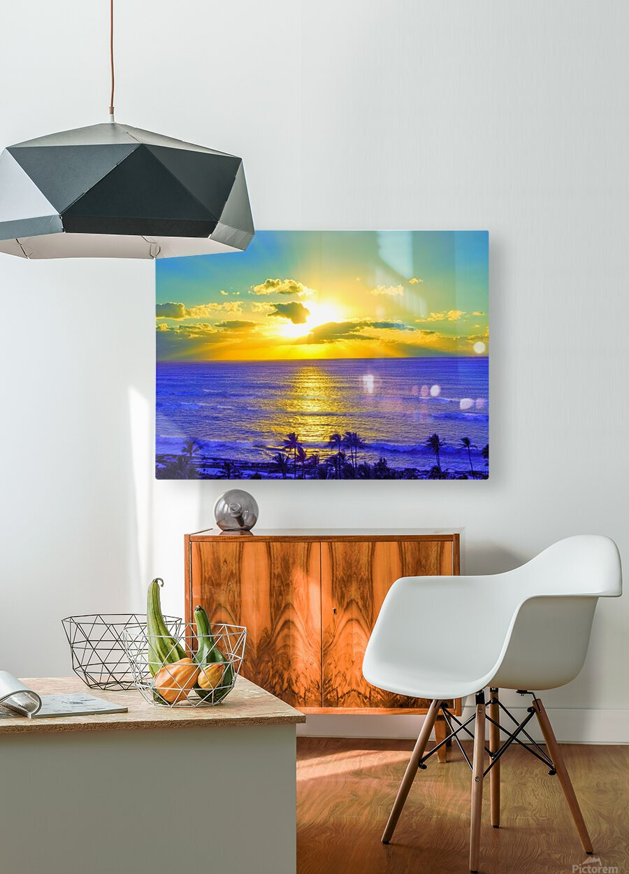 Golden Sunset After the Storm  HD Metal print with Floating Frame on Back