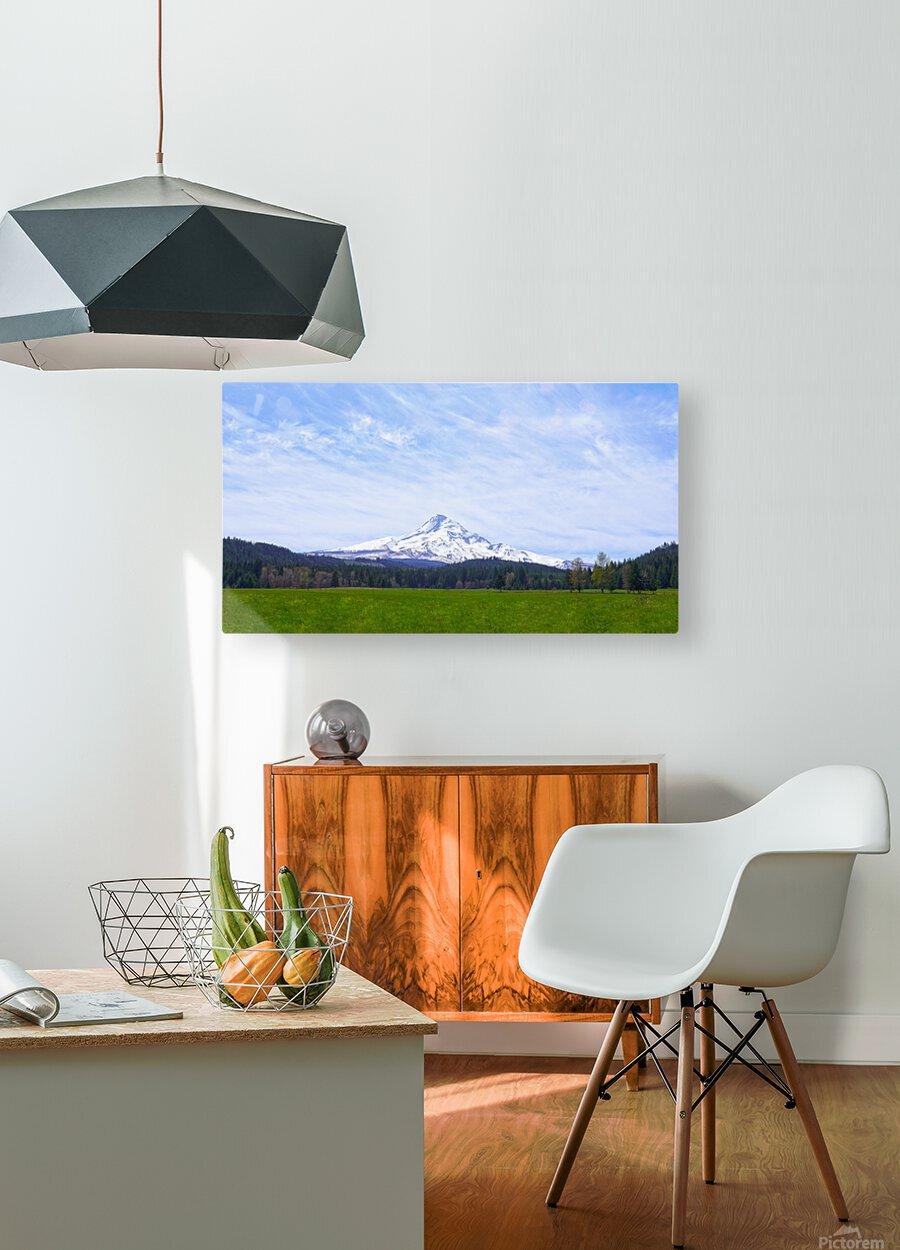 Majestic Mount Hood   Cascade Mountain Range Oregon  HD Metal print with Floating Frame on Back