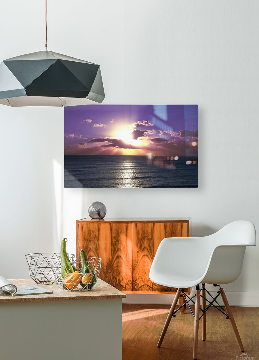 Tranquility - Relaxing Sunset over the Pacific  HD Metal print with Floating Frame on Back