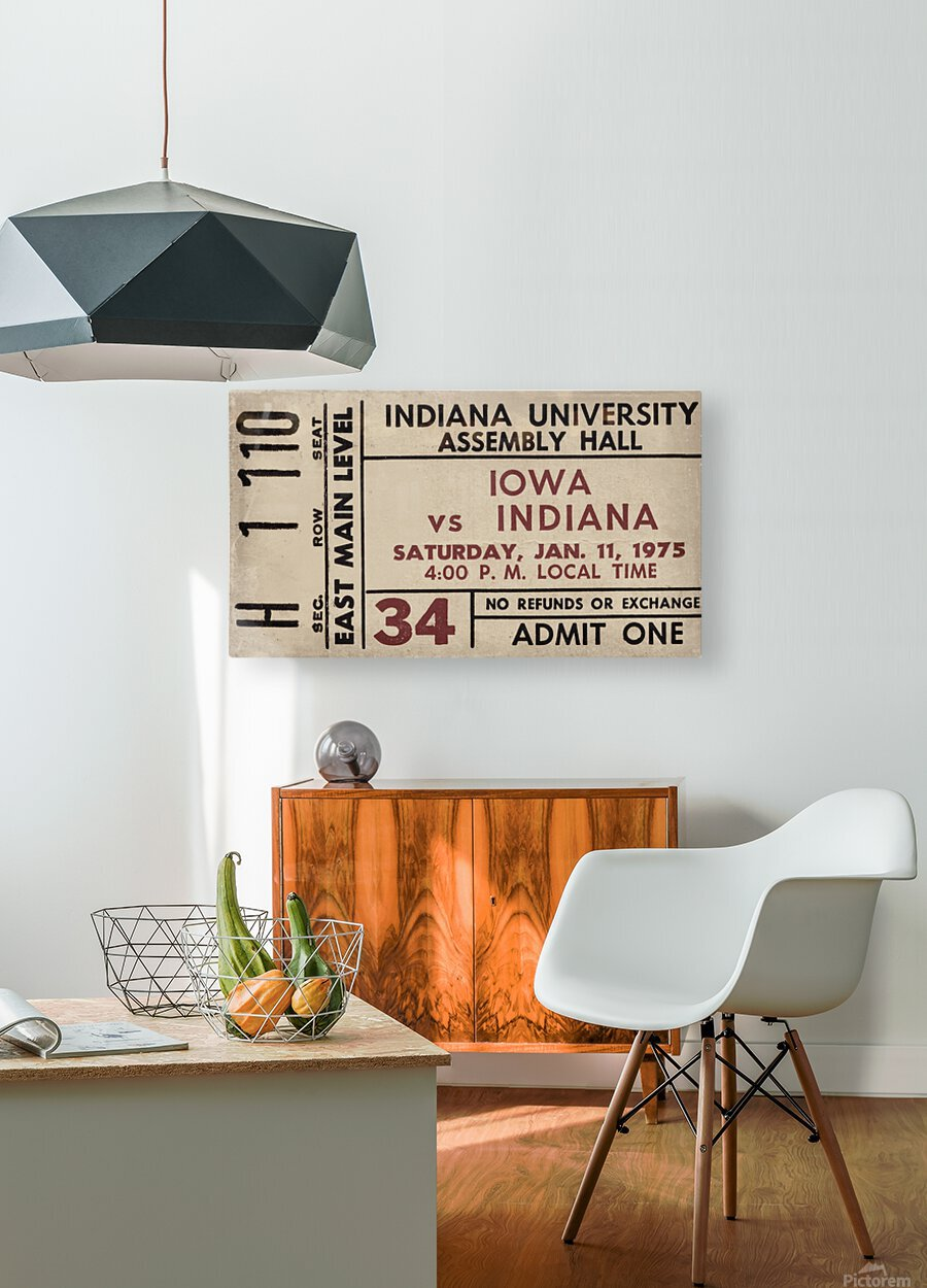 1975 Indiana vs. Iowa Basketball Ticket Metal Sign  HD Metal print with Floating Frame on Back