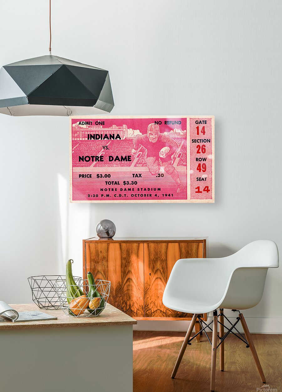 1941 Indiana vs. Notre Dame Football Ticket Canvas  HD Metal print with Floating Frame on Back
