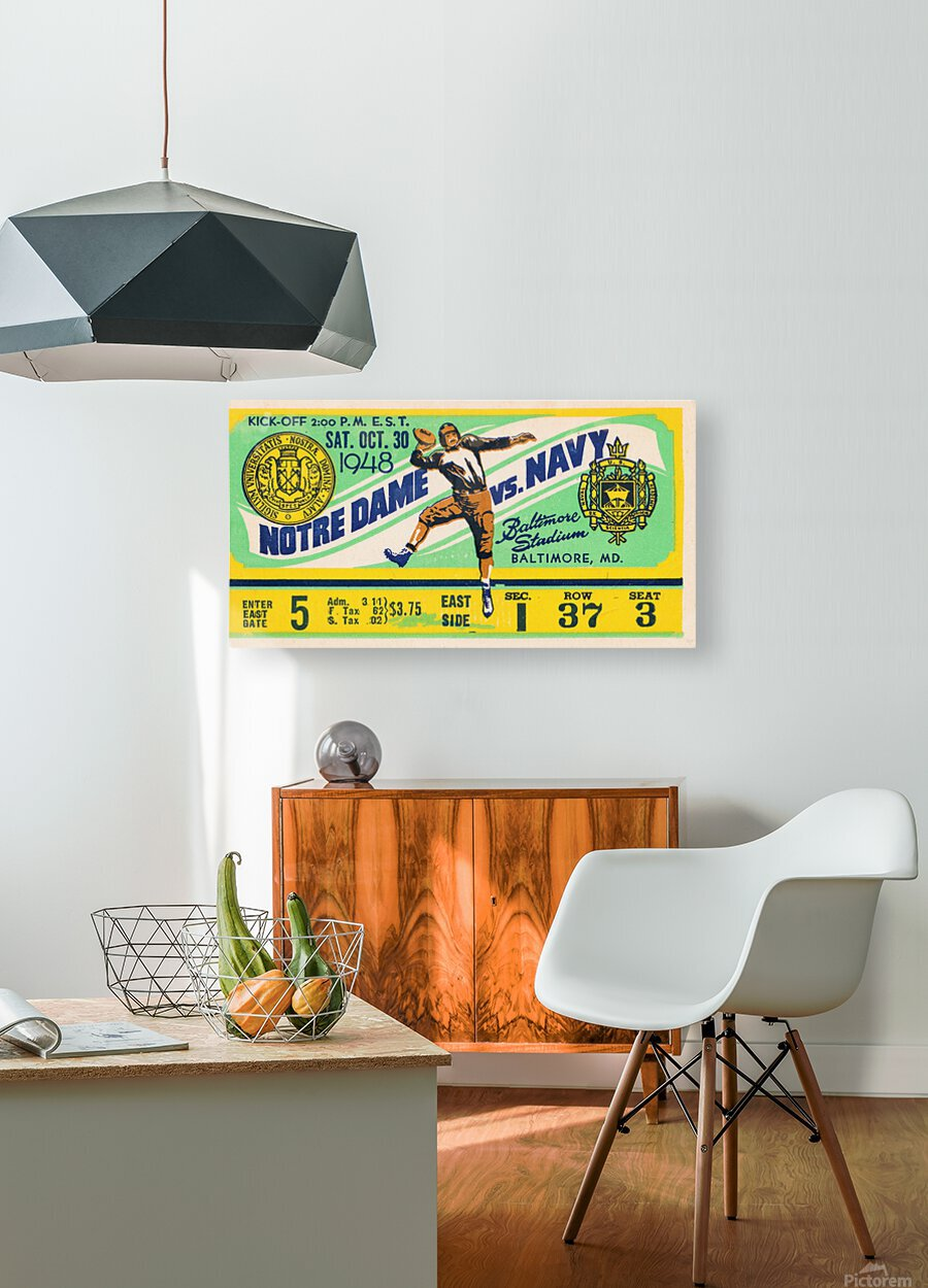1948 Navy vs. Notre Dame Football Ticket Art  HD Metal print with Floating Frame on Back