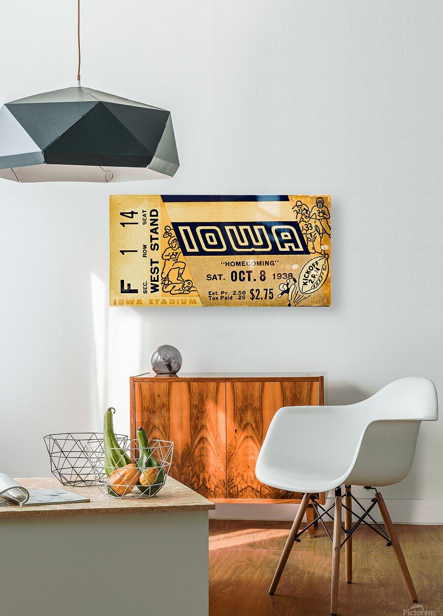 1938 Iowa Hawkeyes Football Ticket Remix Art  HD Metal print with Floating Frame on Back