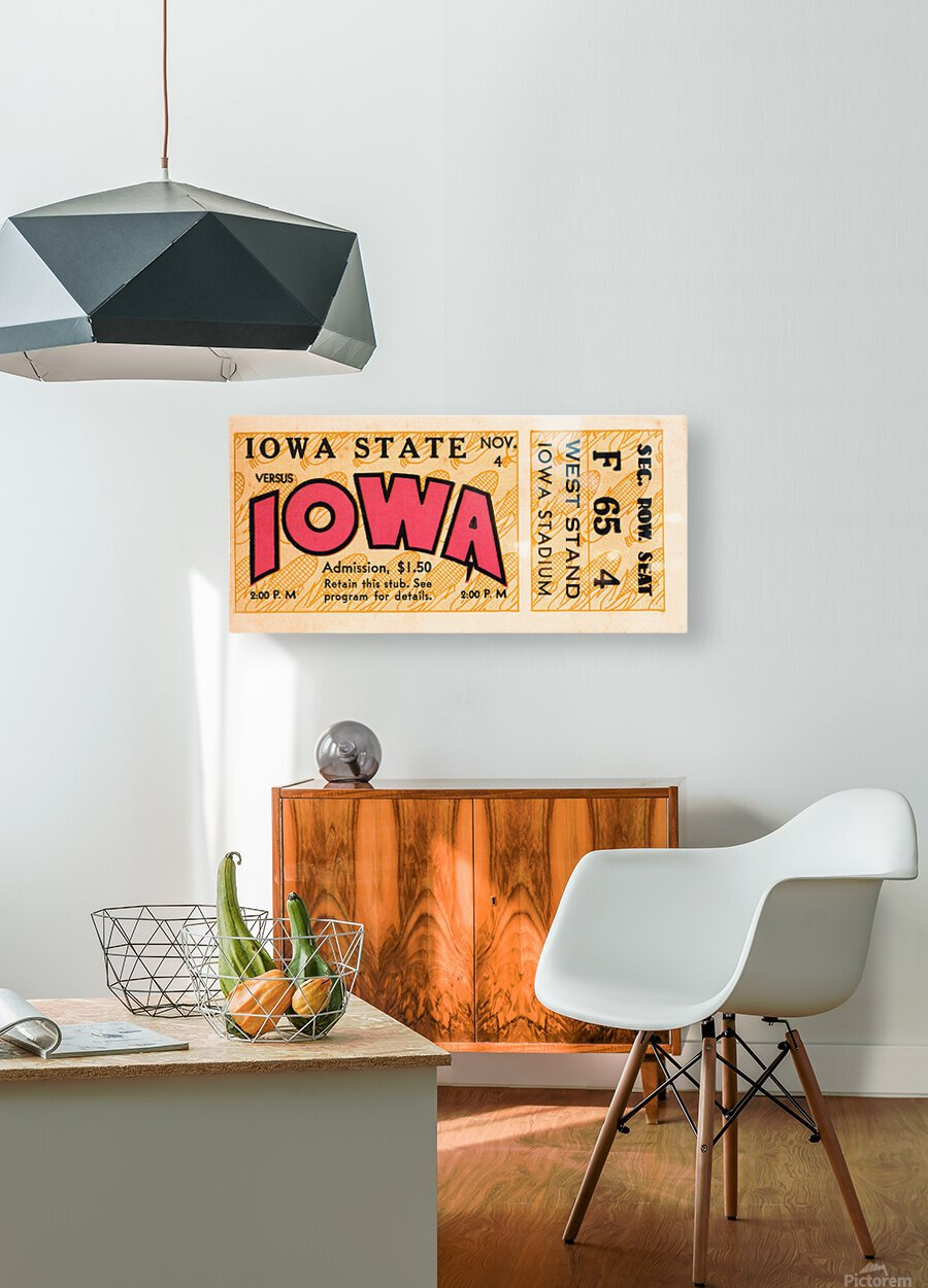 1933 Iowa State vs. Iowa Football Ticket Art  HD Metal print with Floating Frame on Back