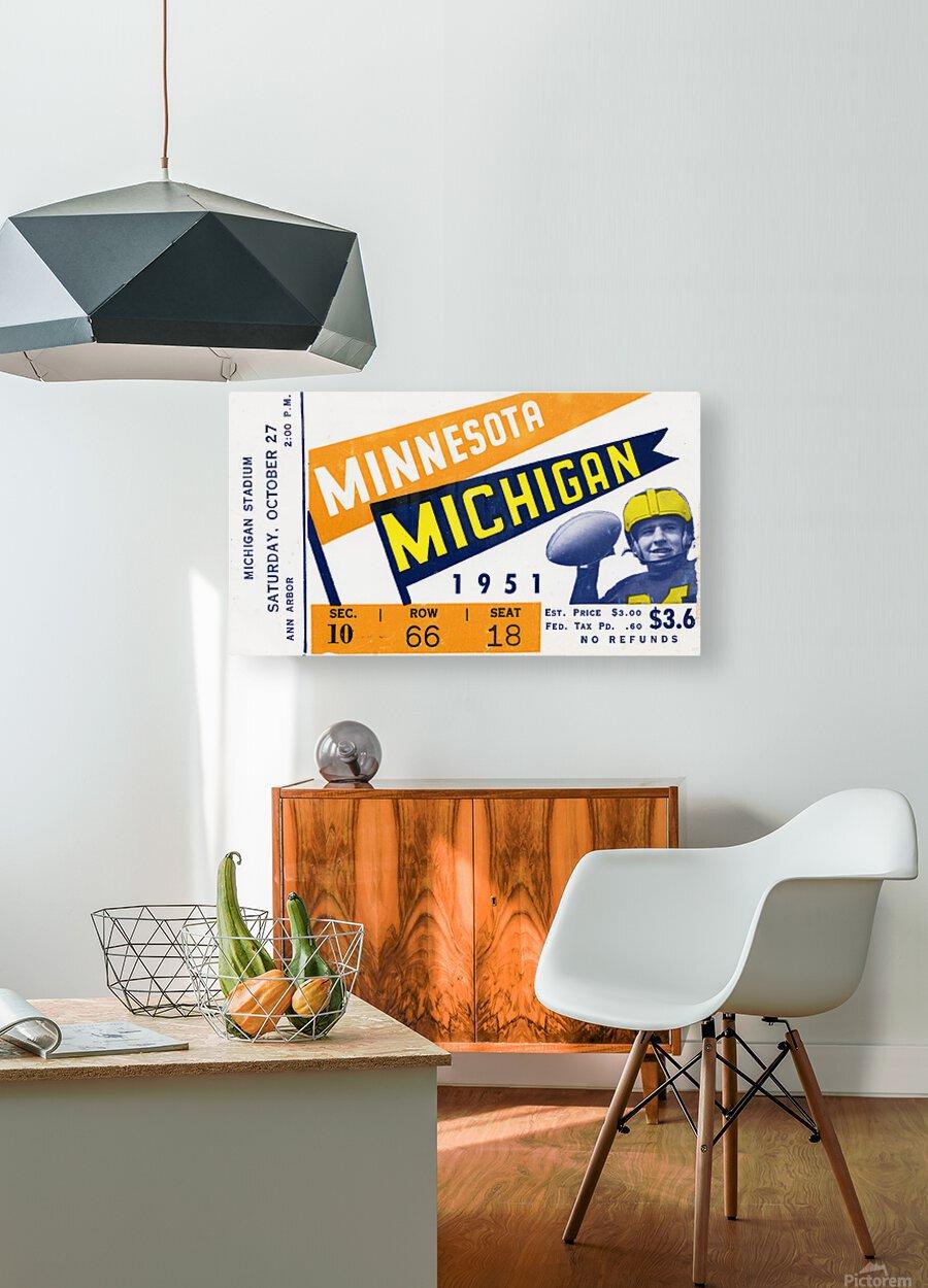 1951 Michigan vs. Minnesota Football Ticket Art  HD Metal print with Floating Frame on Back