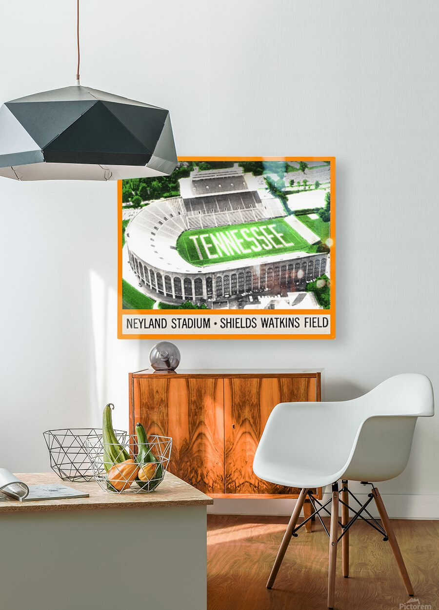 1964 Tennessee Vols Football Ticket Stub Remix  HD Metal print with Floating Frame on Back