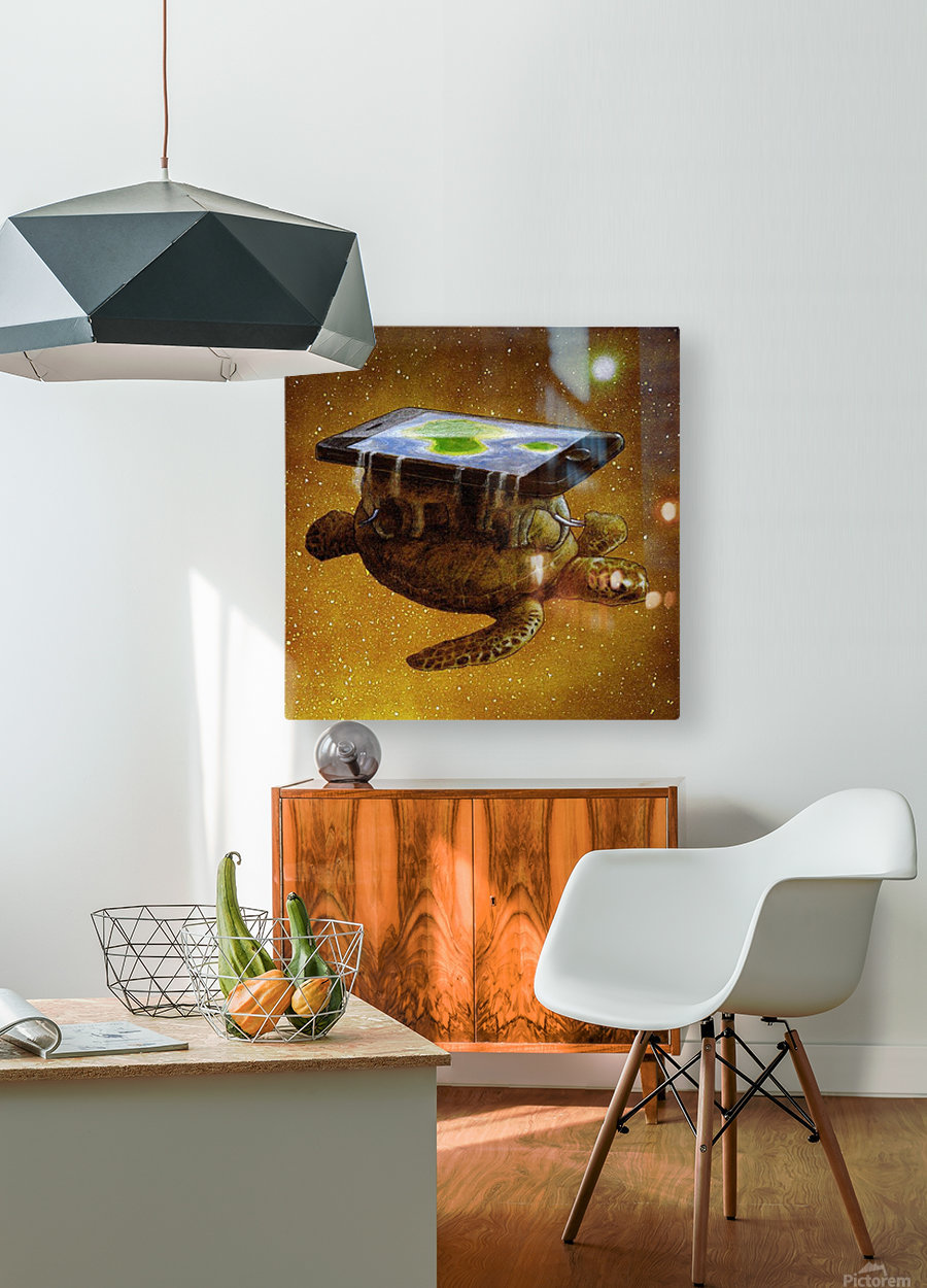 flat world  HD Metal print with Floating Frame on Back