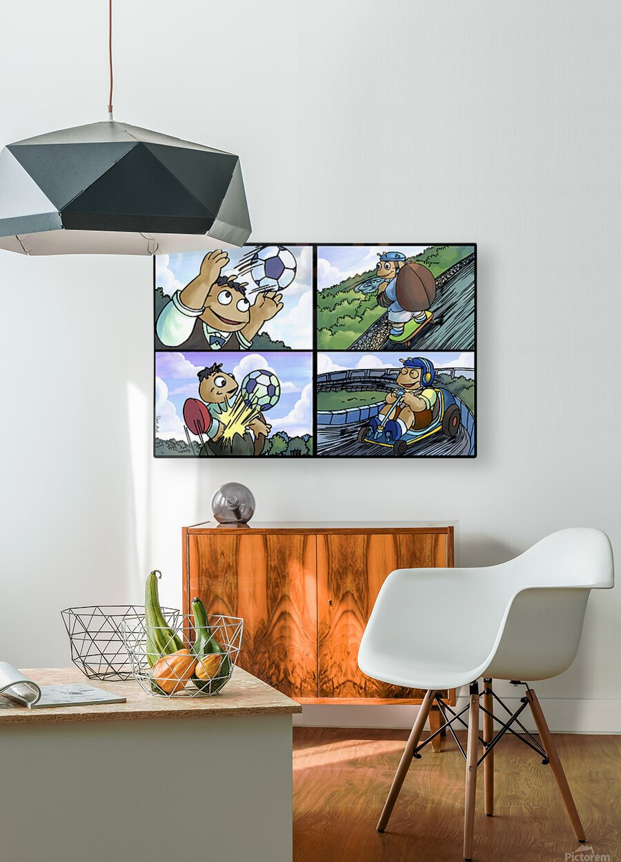 Barry the Beetle in Action   4 panel Favorites for Kids Room and Nursery   Bugville Critters  HD Metal print with Floating Frame on Back