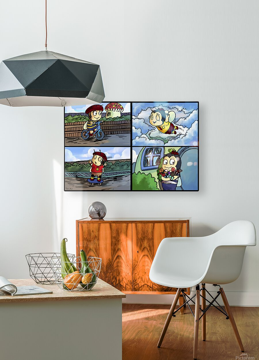 Buster the Bee in Action   4 panel Favorites for Kids Room and Nursery   Bugville Critters  HD Metal print with Floating Frame on Back