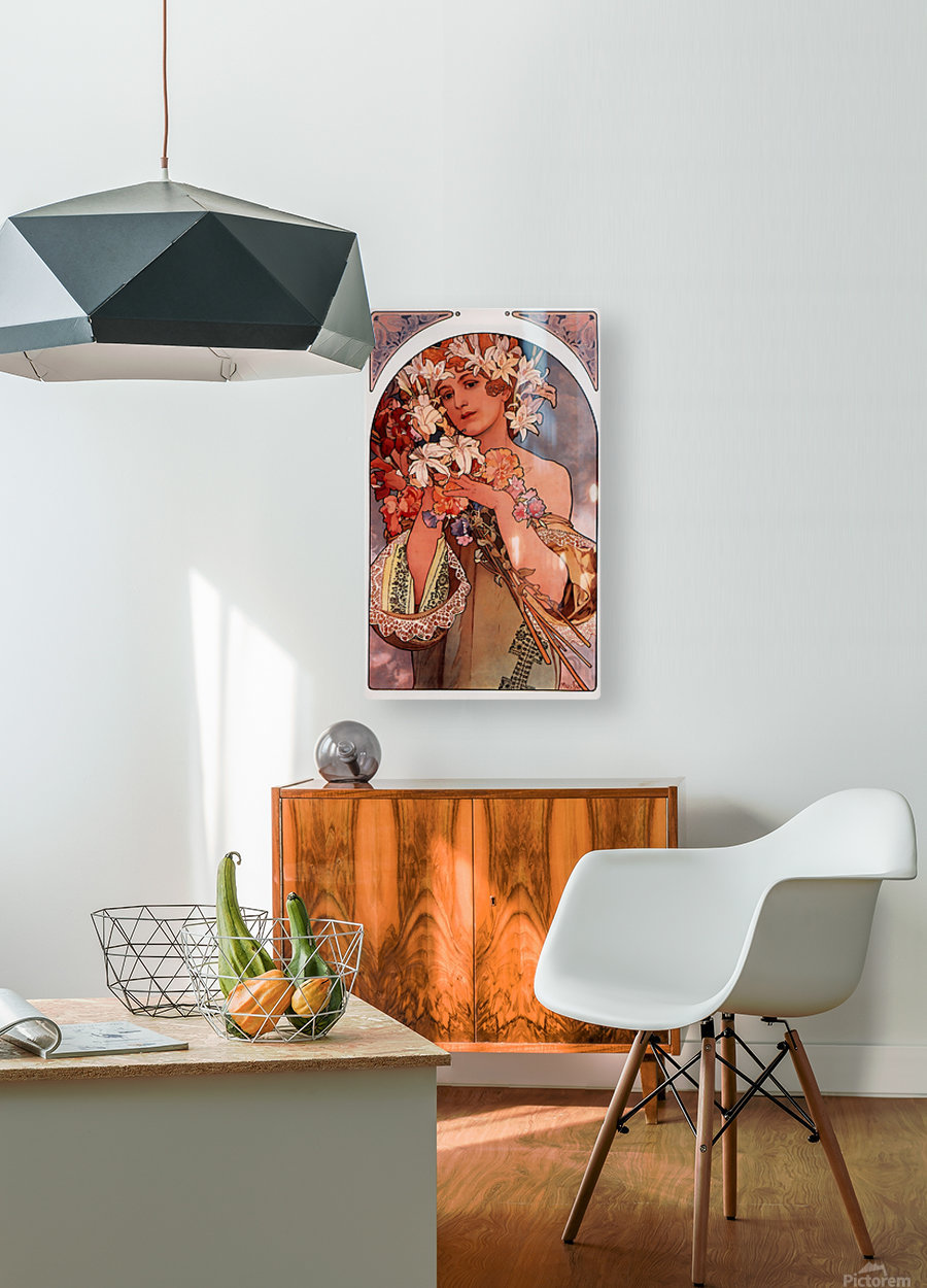 Flowers by Alphonse Mucha  HD Metal print with Floating Frame on Back