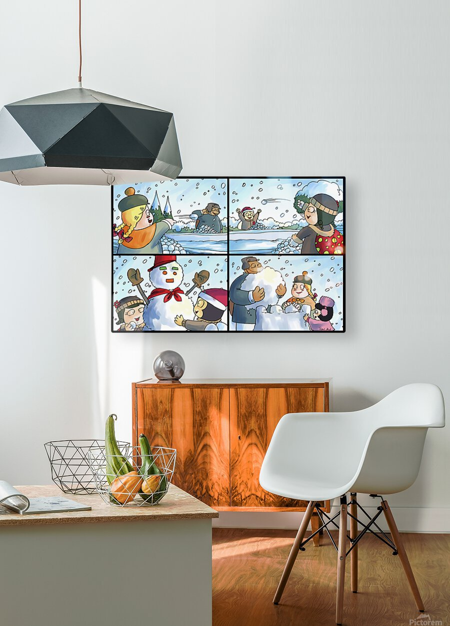 Winter Wonderland Fun   Snowballs  Snowforts and Snowman   4 panel Favorites for Kids Room and Nursery   Bugville Critters  HD Metal print with Floating Frame on Back
