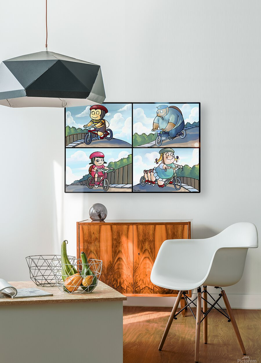 Time for a Bike Ride   Best Friends   4 panel Favorites for Kids Room and Nursery   Bugville Critters  HD Metal print with Floating Frame on Back
