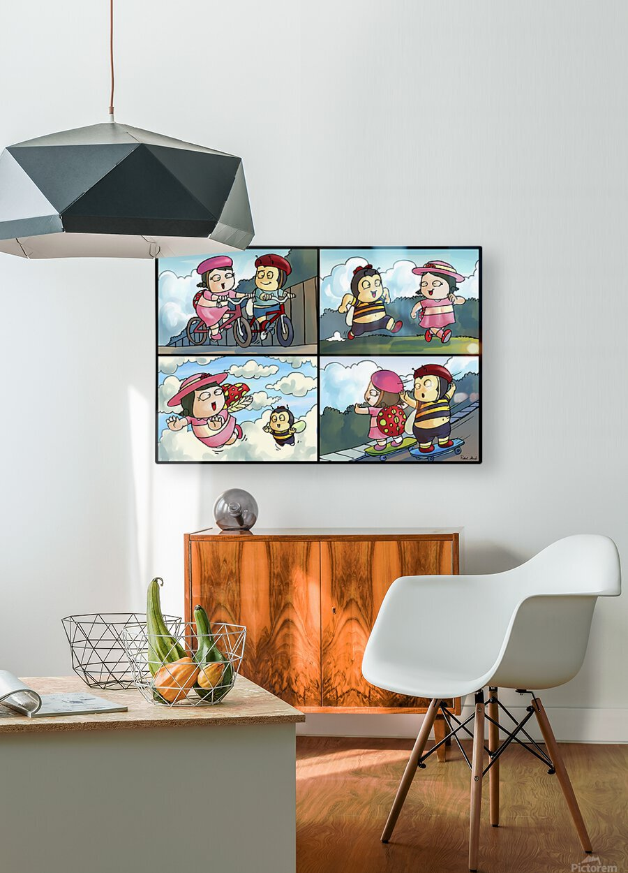 Best Friends at Play   4 panel Favorites for Kids Room and Nursery   Bugville Critters  HD Metal print with Floating Frame on Back